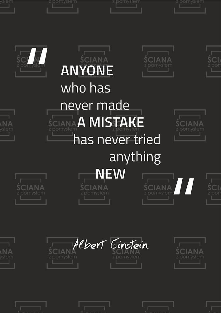 Plakat Typograficzny Anyone Who Has Never Made A Mistake Albert Einstein T012d